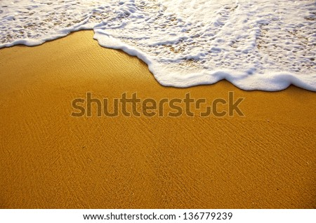Closeup of sea foam on wet golden sand with copy space - stock photo