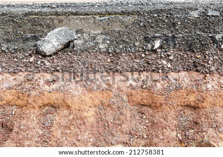 Closeup of Section of asphalt road collapses.Layer of soil beneath section - stock photo