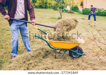 Closeup of senior man filling wheelbarrow of hay with pitchfork and young man raking on the background - stock photo