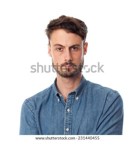 closeup of serious young cool man - stock photo