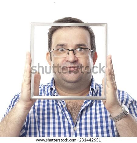 closeup of seriously nerd man - stock photo