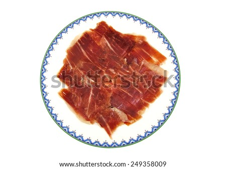 Closeup of serrano ham slices. Jabugo. Spanish tapa - stock photo