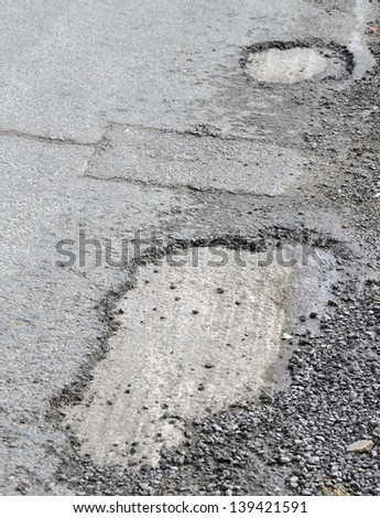 Closeup of severe dame to road surface caused by frost damage - stock photo