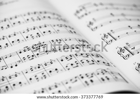 Closeup of Sheet Music. Musical Notes with Selective Focus. - stock photo