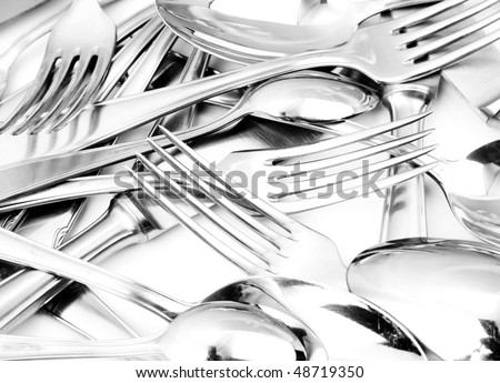 Closeup of shiny spoon, knife and fork