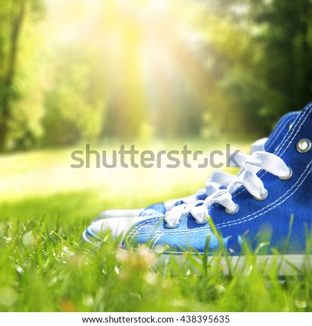 closeup of shoes and green grass