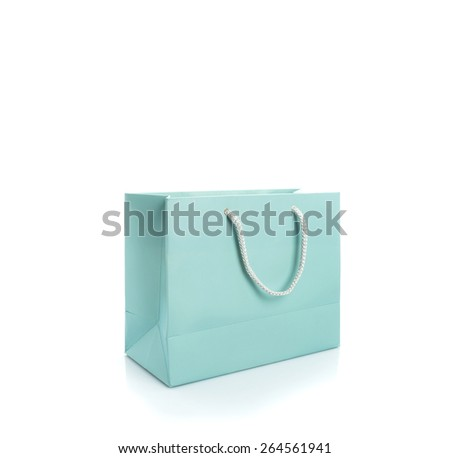 Closeup of shopping bag isolated on white - stock photo