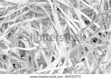Closeup of shredded paper documents. - stock photo