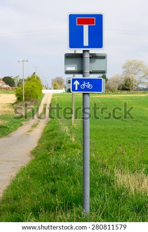 Closeup of sign for Bike and Pedestrian path through English countryside - stock photo