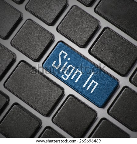 Closeup of Sign In key in a modern keyboard. - stock photo