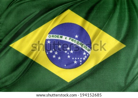 Closeup of silky Brazilian flag