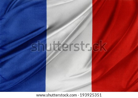 Closeup of silky French flag  - stock photo