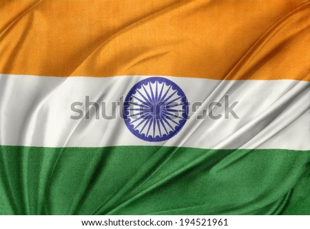 Closeup of silky Indian flag - stock photo