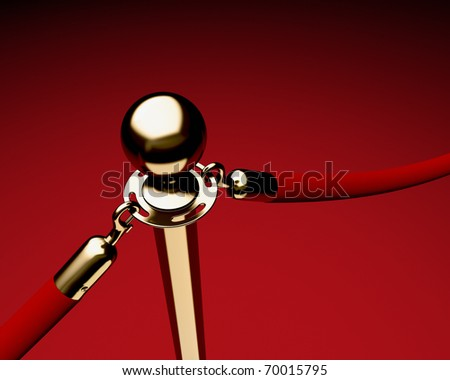 Closeup of single brass stanchion with velvet ropes. - stock photo