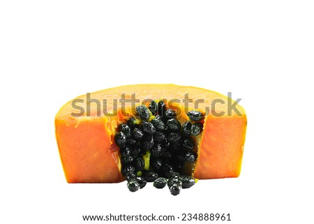 closeup of sliced papaya with seed on white background ; selective focus at seeds - stock photo
