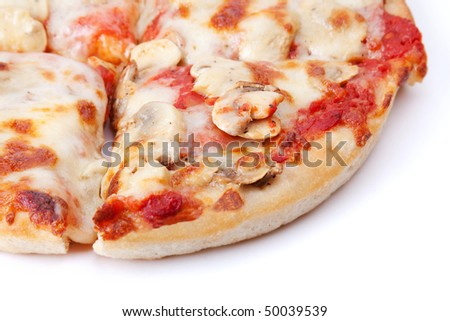 Closeup of slices of mushroom pizza. Selective focus.