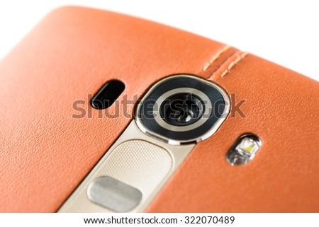 Closeup of Smartphone Camera Module on the back, isolated on white. - stock photo