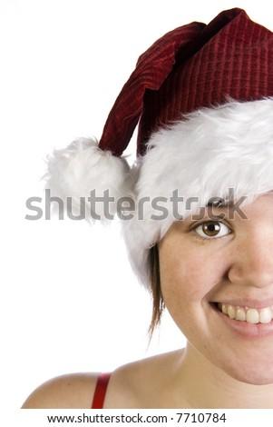 Closeup of smiling woman in Santa hat - stock photo