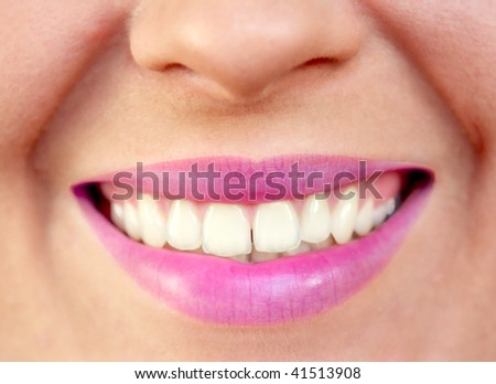 Closeup of smiling woman's mouth