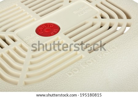 Closeup of smoke alarm isolated on white background with clipping path - stock photo