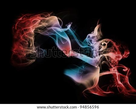 closeup of smoke on the black background - stock photo