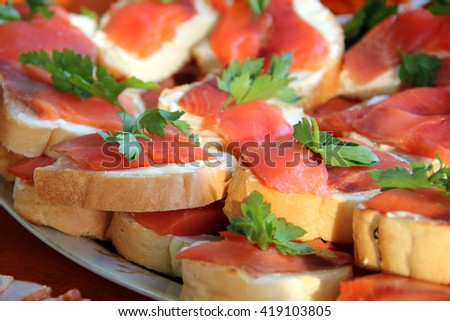 closeup of smoked salmon with cream cheese