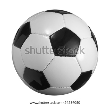 closeup of soccer ball on white background with clipping path