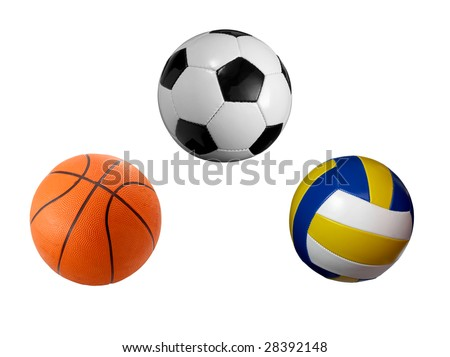 closeup of soccer, basket and volley ball on white background. each one is a separate picture in full cameras resolution - stock photo