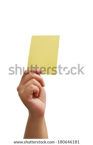 Closeup of  soccer referee hand holding yellow card isolate on white with clipping path - stock photo