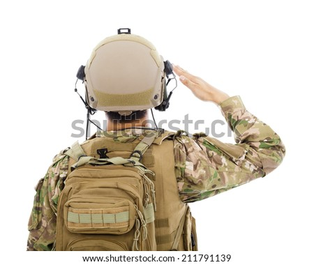 closeup of Soldier in military uniform  saluting over white background - stock photo
