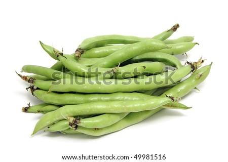 closeup of some broad bean pods with the beans inside - stock photo