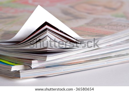 closeup of some magazines