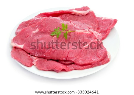 closeup of some raw beef fillets on a plate on a white background - stock photo