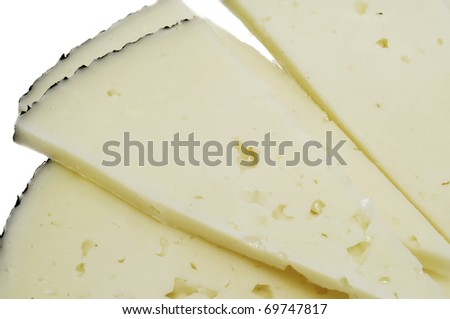 closeup of some slices of manchego cheese - stock photo