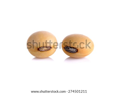 Closeup of soy beans isolated on the white background.