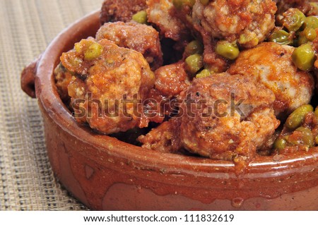 closeup of spanish meatballs tapas - stock photo