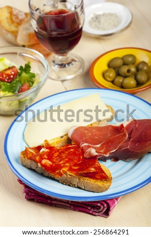 closeup of spanish tapas  - stock photo