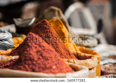 Closeup of spices on sale market. - stock photo