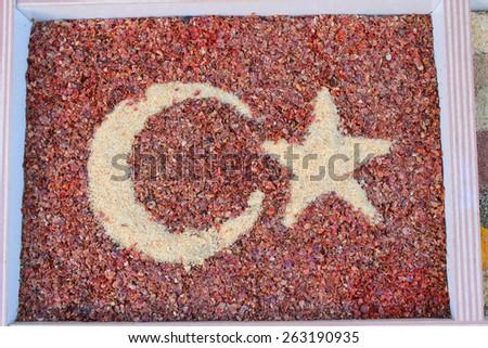 Closeup of spices on sale market. Turkey, Antalya - stock photo