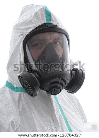Closeup of spray painter wearing white coverall and respirator shot over white background - stock photo