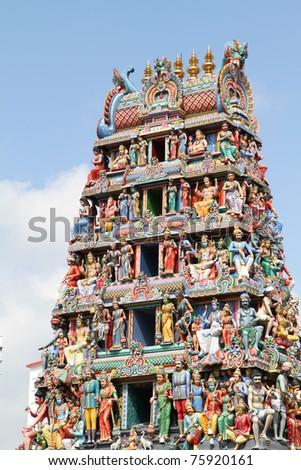 Closeup of Sri Mariamman Hindu Temple with blue sky , Singapore - stock photo