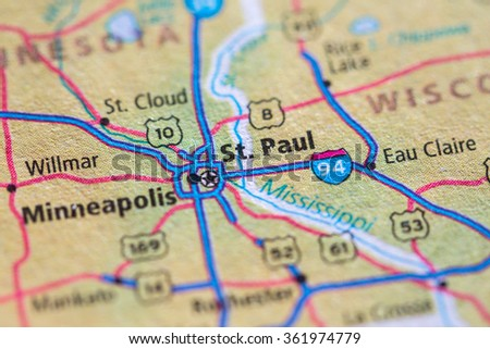 Closeup of St. Paul on a geographical map. - stock photo