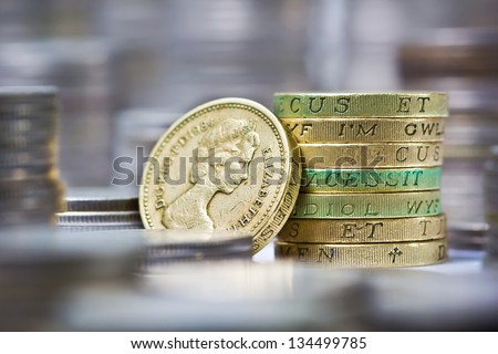 Closeup of stack of british pound coins - stock photo