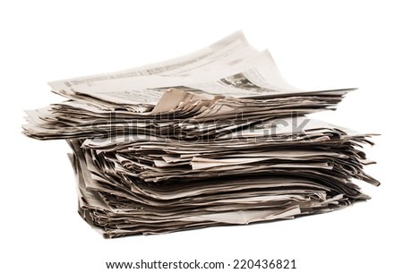 Closeup of stack of newspapers - stock photo