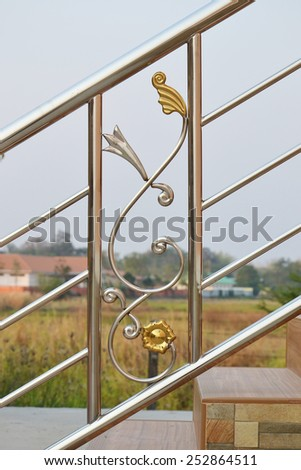 closeup of stainless steel handrail - stock photo