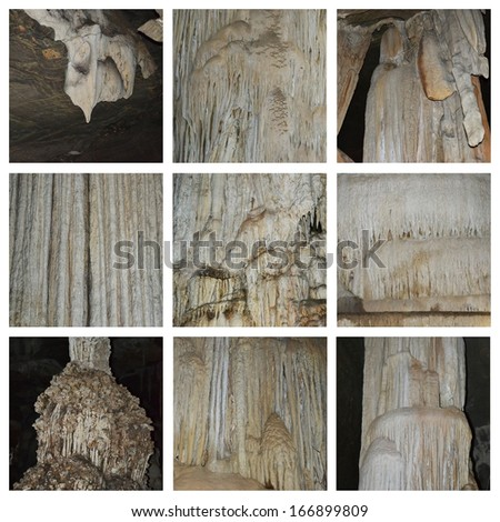 closeup of stalactites and stalagmites in the cave - stock photo
