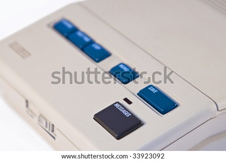 Closeup of stand alone recorder against white background - stock photo