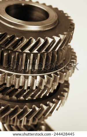 Closeup of steel cogs together  - stock photo