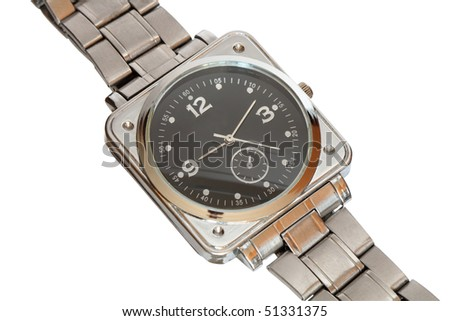 Closeup of steel wristwatch isolated on white background with clipping path