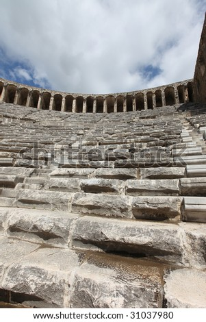 Closeup of steps at the Aspendos theater in Turkey - stock photo